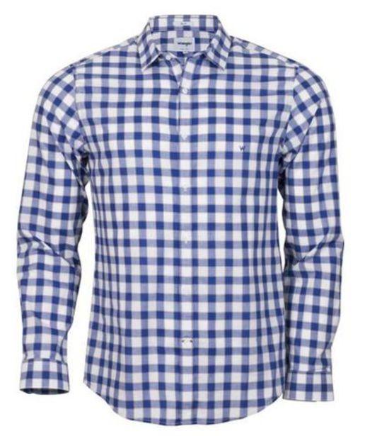 Oferta de Camisa para Hombre WRANGLER SHIRT LS LARGE SQUARES SLIM AZ por S/ 113,4
