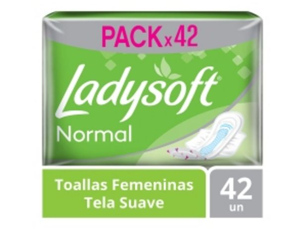 Oferta de Toallas Higiénicas Normal Con Alas Mega Pack Ladysoft - Bolsa 42 UN por S/ 9,1