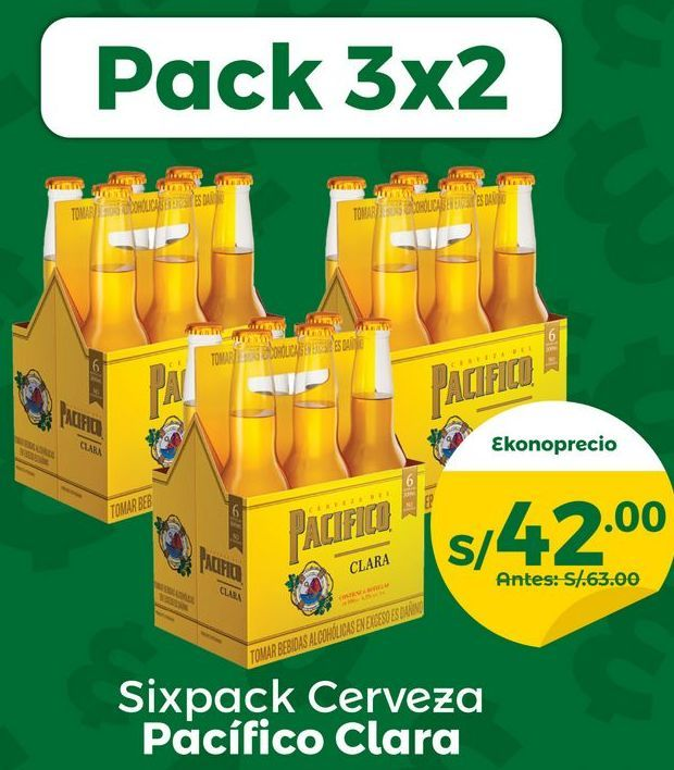 Oferta de Pack 3×2 Cerveza Pacifico Clara 6Pack – Botella 300 Ml por S/ 42