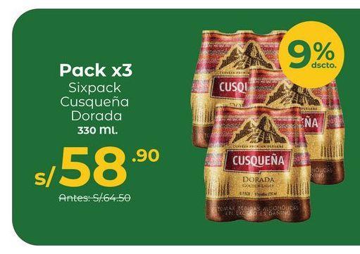 Oferta de Pack X3 – Cerveza Cusqueña Dorada 6Pack – NR 330 Ml por S/ 58,9