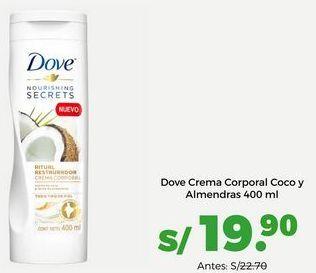 Oferta de Dove Crema Corporal Coco y Almendras 400 ml por S/ 19,9