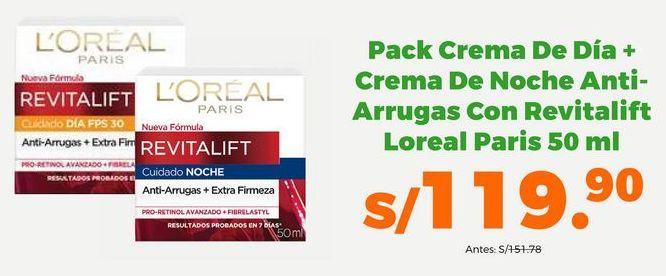 Oferta de Pack Crema de día + Crema de noche Anti-Arrugas con Revitalift Loreal Paris 50 ml por S/ 119,9