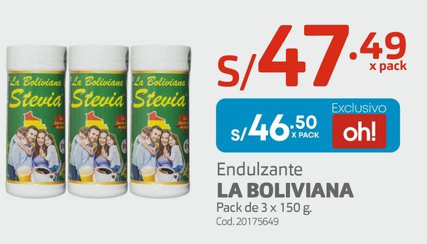 Oferta de Endulzante LA BOLIVIANA Pack de 3 x 150 g. por S/ 46,5