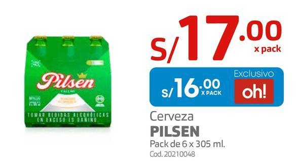 Oferta de Cerveza PILSEN Pack de 6 x 305 ml.  por S/ 16