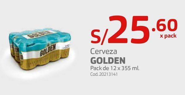Oferta de Cerveza GOLDEN Pack de 12 x 355 ml. por S/ 25,6