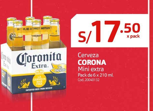 Oferta de Cerveza CORONA Mini extra Pack de 6 x 210 ml. por S/ 17,5