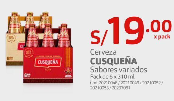 Oferta de Cerveza CUSQUEÑA Sabores variados Pack de 6 x 310 ml. por S/ 19
