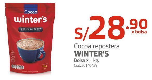 Oferta de Cocoa repostera WINTER'S Bolsa x 1 kg por S/ 28,9