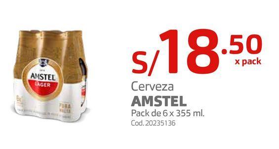Oferta de Cerveza AMSTEL Pack de 6 x 355 ml.  por S/ 18,5