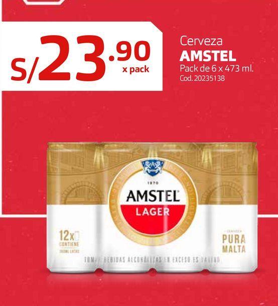 Oferta de Cerveza AMSTEL Pack de 6 x 473 ml. por S/ 23,9