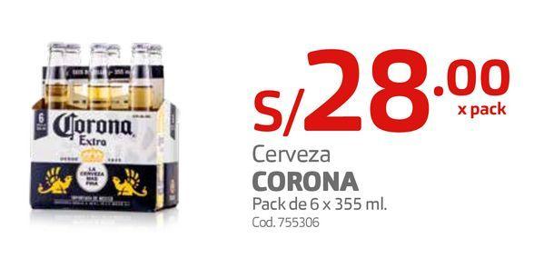 Oferta de Cerveza CORONA Pack de 6 x 355 ml. por S/ 28