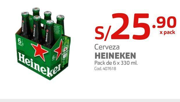 Oferta de Cerveza HEINEKEN Pack de 6 x 330 ml. por S/ 25,9