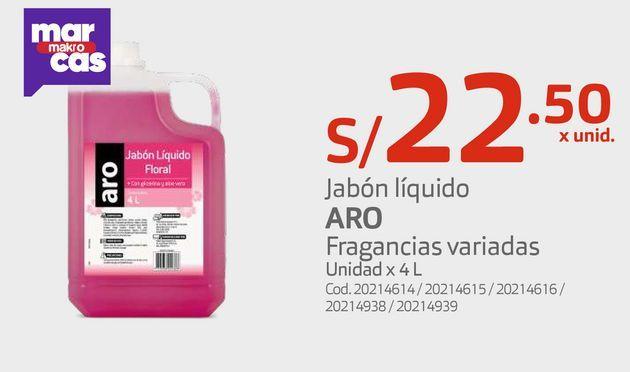Oferta de Jabón líquido ARO Fragancias variadas Unidad x 4 L por S/ 22,5