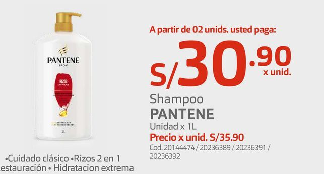 Oferta de Shampoo PANTENE Unidad x 1L por S/ 30,9