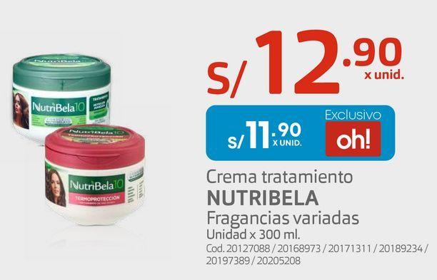 Oferta de Crema tratamiento NUTRIBELA Fragancias variadas por S/ 11,9