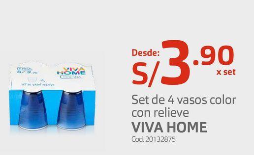 Oferta de Set de 4 vasos color con relieve VIVA HOME por S/ 3,9