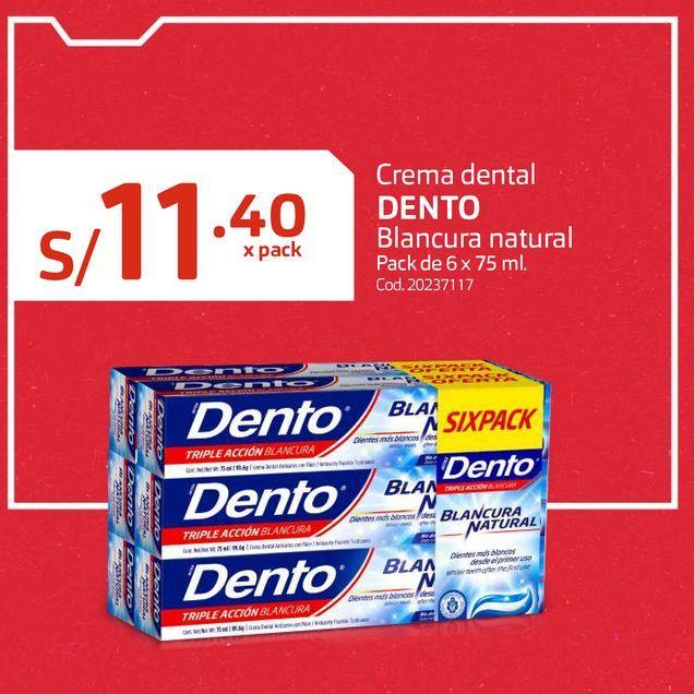 Oferta de Crema dental DENTO Blancura natural Pack de 6 x 75 ml. por S/ 11,4