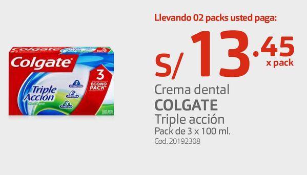 Oferta de Crema dental COLGATE Triple acción Pack de 3 x 100 ml por S/ 13,45