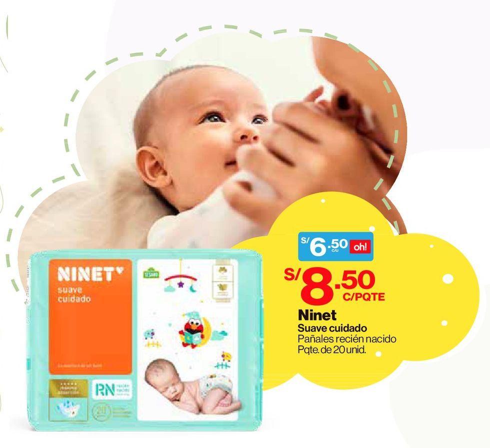 Oferta de Pañales Ninet Suave Cuidado Recién Nacido - Bolsa 20 UN por S/ 6,5