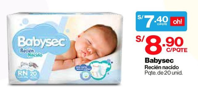 Oferta de Pañal Babysec Talla Recién Nacido - Bolsa 20 UN por S/ 7,4