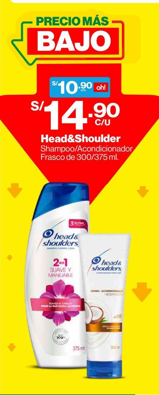 Oferta de Shampoo 2en1 Head & Shoulders Suave y Manejable 375ml por S/ 10,9