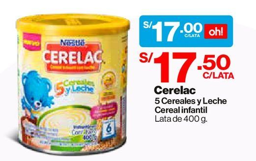 Oferta de Cereal Infantil CERELAC® 5 Cereales y Leche - Lata 400 G por S/ 17