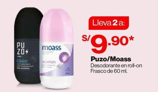 Oferta de Puzo / Moass Desodorante en roll-on 60ml x2 por S/ 9,9
