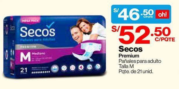 Oferta de Pañales Adultos Talla M Secos Premium - Bolsa 21 UN por S/ 46,5
