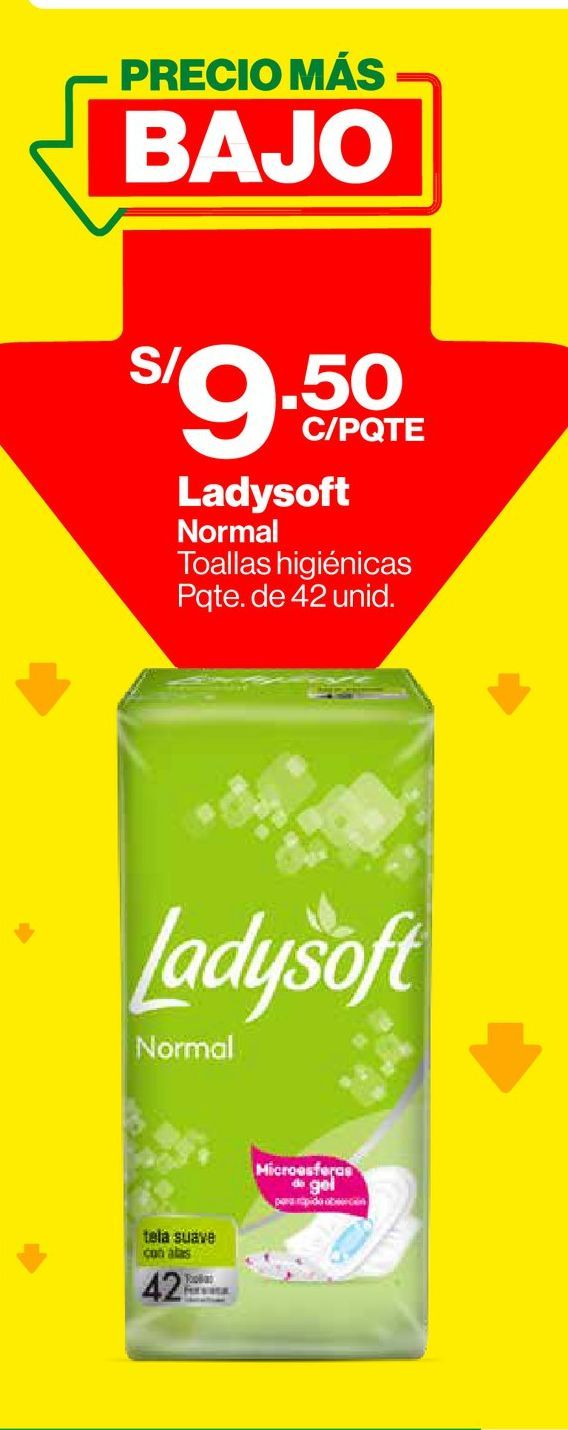 Oferta de Toallas Higiénicas Normal Con Alas Mega Pack Ladysoft - Bolsa 42 UN por S/ 9,5