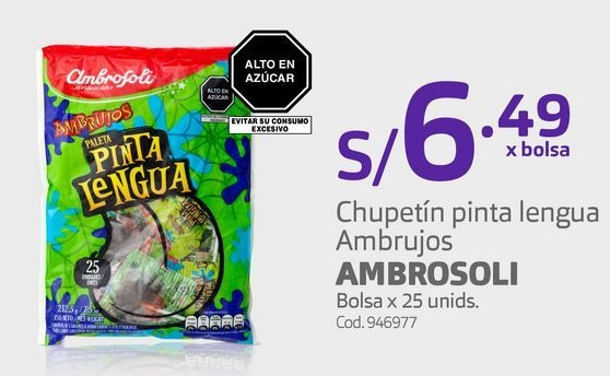 Oferta de Chupetín pinta lengua Ambrujos AMBROSOLI Bolsa x 25 unids. por S/ 6,49