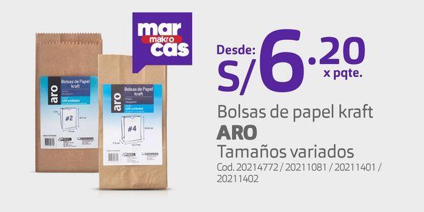 Oferta de Bolsas de papel kraft ARO Tamaños variados por S/ 6,2