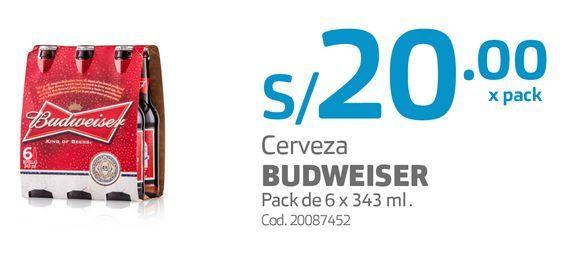 Oferta de Cerveza BUDWEISER Pack de 6 x 343 ml . por S/ 20