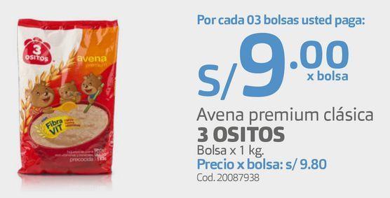 Oferta de Avena premium clásica 3 OSITOS Bolsa x 1 kg. por S/ 9