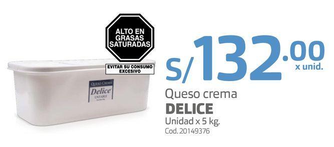 Oferta de Queso crema DELICE Unidad x 5 kg por S/ 132
