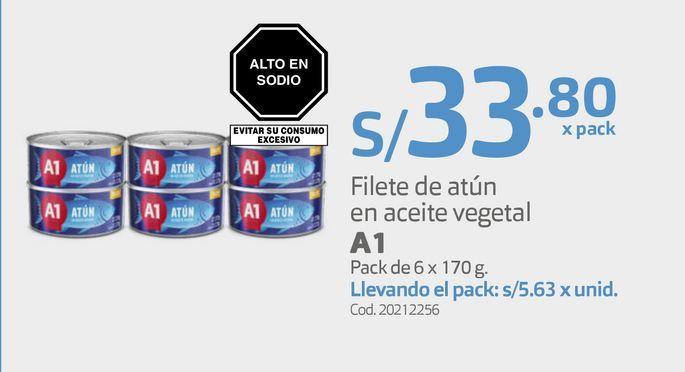 Oferta de Filete de atún en aceite vegetal A1 Pack de 6 x 170 g por S/ 33,8