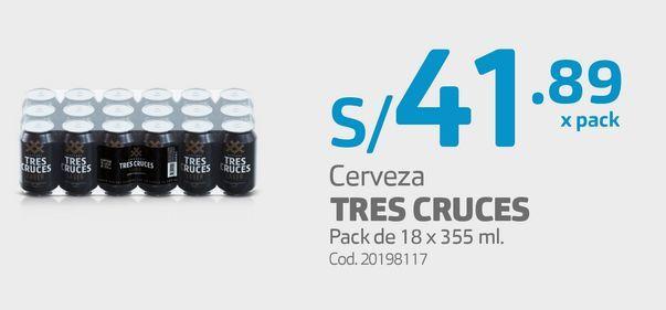 Oferta de Cerveza TRES CRUCES Pack de 18 x 355 ml.  por S/ 41,89