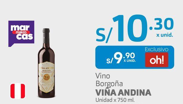 Oferta de Vino Borgoña VIÑA ANDINA Unidad x 750 ml. por S/ 9,9
