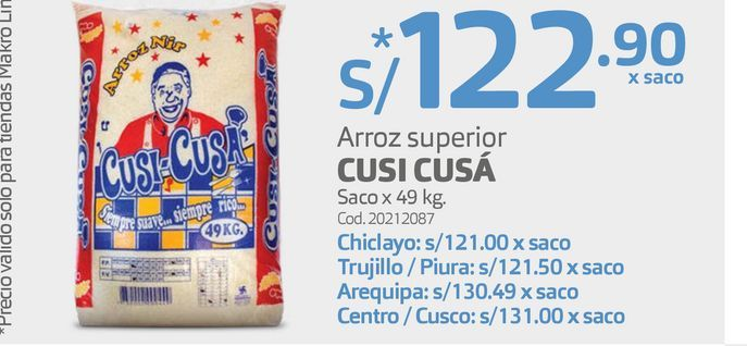 Oferta de Arroz superior CUSI CUSÁ Saco x 49 kg. por S/ 122,9
