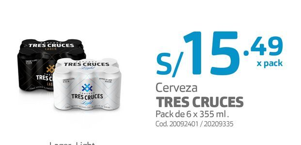 Oferta de Cerveza TRES CRUCES Pack de 6 x 355 ml . por S/ 15,49
