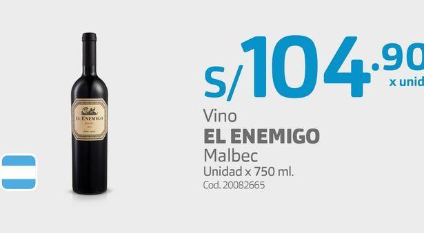 Oferta de Vino EL ENEMIGO Malbec Unidad x 750 ml. por S/ 104,9