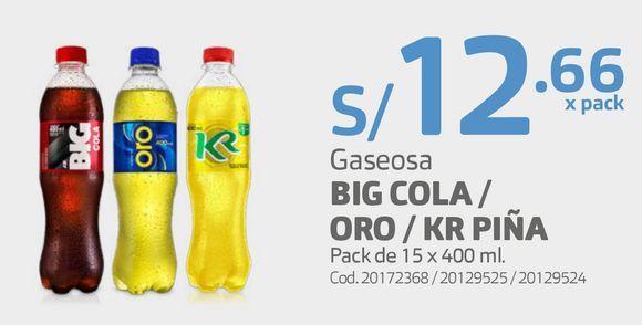 Oferta de Gaseosa BIG COLA / ORO / KR PIÑA Pack de 15 x 400 ml. por S/ 12,66
