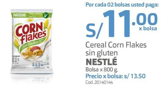 Oferta de Cereal Corn Flakes sin gluten NESTLÉ Bolsa x 800 g. por S/ 11