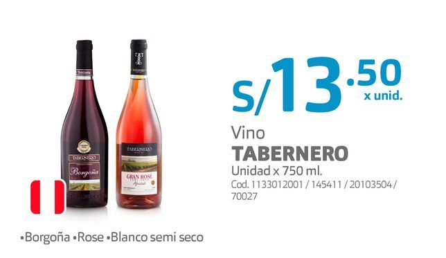 Oferta de Vino TABERNERO Unidad x 750 ml. por S/ 13,5