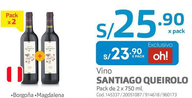 Oferta de Vino SANTIAGO QUEIROLO Pack de 2 x 750 ml. por S/ 23,9
