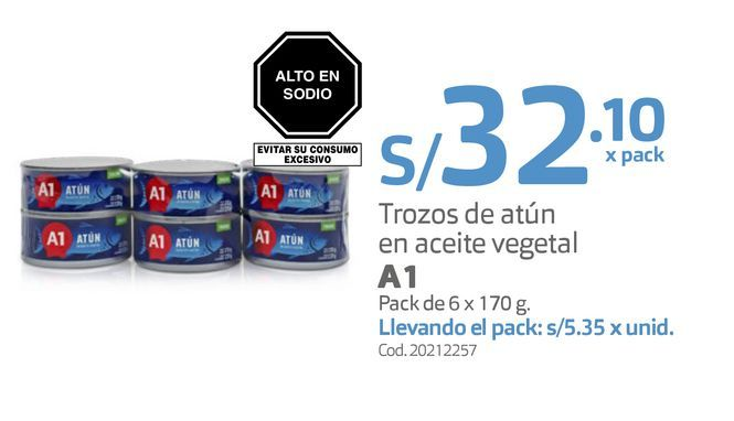 Oferta de Trozos de atún en aceite vegetal A1 Pack de 6 x 170 g. por S/ 32,1