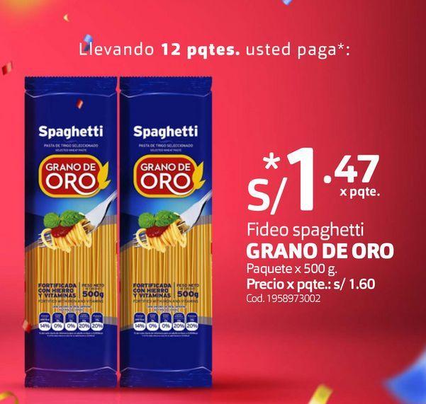 Oferta de Fideo spaghetti GRANO DE ORO Paquete x 500 g. por S/ 1,47