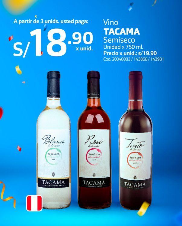Oferta de Vino TACAMA Semiseco Unidad x 750 ml. por S/ 18,9