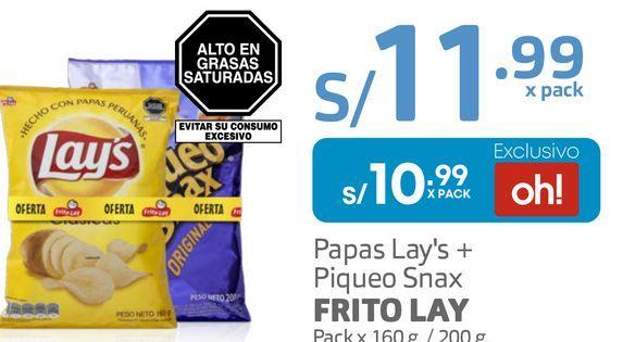 Oferta de Papas Lay's + Piqueo Snax FRITO LAY Pack x 160 g. / 200 g por S/ 10,99