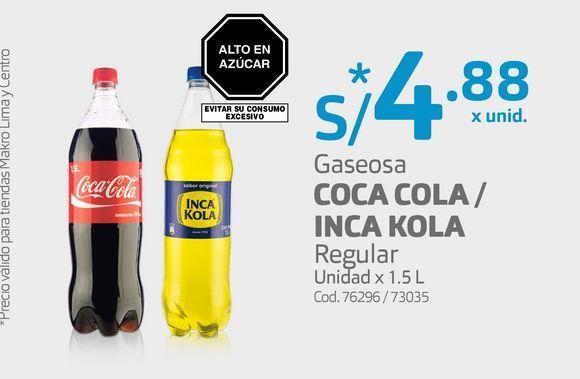 Oferta de Gaseosa COCA COLA / INCA KOLA Regular Unidad x 1.5 L por S/ 4,88