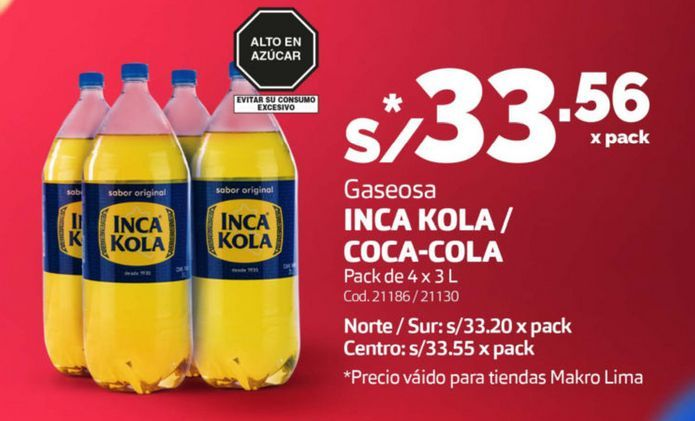 Oferta de Gaseosa Inka Cola/Coca Cola por S/ 33,56